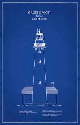 Beach Digital Art - Grosse Point Lighthouse - Illinois - Blueprint Drawing by Jose Elias - Sofia Pereira