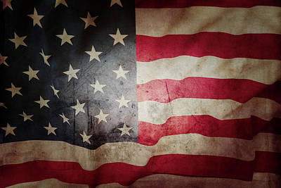 Photograph - Grunge American Flag 6 by Les Cunliffe