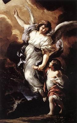 Night Angel Painting - Guardian Angel by Pietro da Cortona