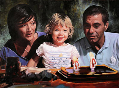 Portraits Paintings - 3 by Guido Borelli