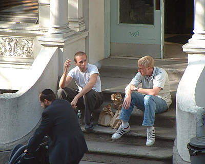 Photograph - 3 Guys On A Stoop by Stan  Magnan