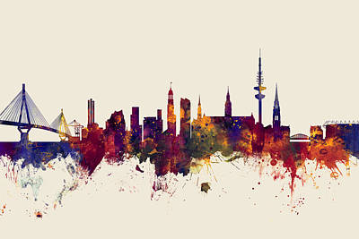 Hamburg Digital Art - Hamburg Germany Skyline by Michael Tompsett