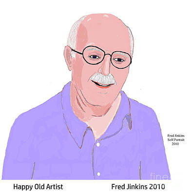 Happy Old Artist Art Print by Fred Jinkins