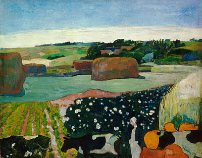 Cow Painting - Haystacks In Brittany by Paul Gauguin