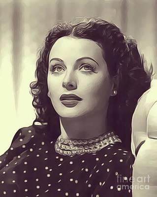 Hedy Lamarr Digital Art - Hedy Lamarr, Vintage Actress by John Springfield