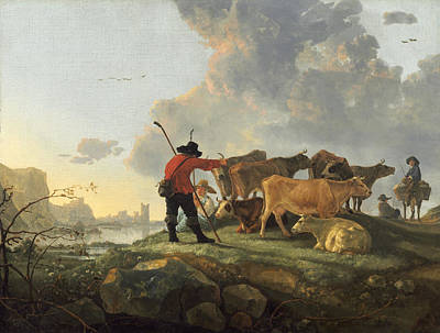 Herdsmen Tending Cattle Painting - Herdsmen Tending Cattle by Aelbert Cuyp