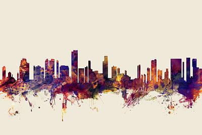 Honolulu Digital Art - Honolulu Hawaii Skyline by Michael Tompsett
