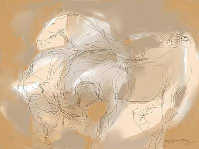 Digital Art - 3 Horses by Mary Armstrong