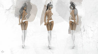 Abstract Utensils - 3 Hot Girls in White Outfit by Mia Stedt