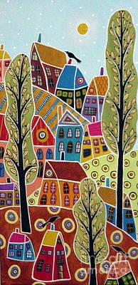 Houses Trees And Birds Original by Karla Gerard