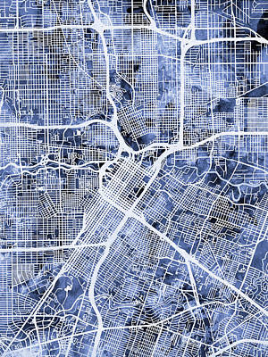 Urban Street Digital Art - Houston Texas City Street Map by Michael Tompsett