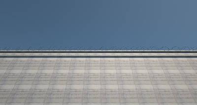 Barbed Digital Art - Huge High Security Wall by Allan Swart