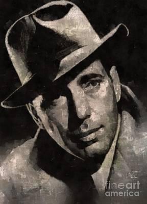 Elvis Presley Painting - Humphrey Bogart Vintage Hollywood Actor by Mary Bassett