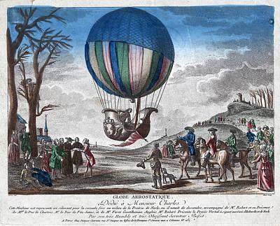 Hydrogen Balloon, 1783 Art Print by Granger