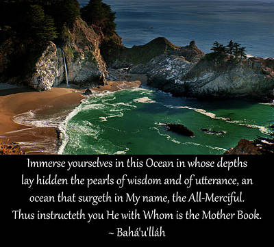 Immerse Yourselves In This Ocean Art Print by Baha'i Writings As Art