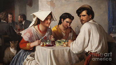In A Roman Osteria Art Print by Carl Bloch