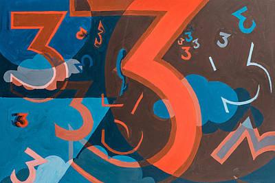 3 In Blue And Orange Art Print
