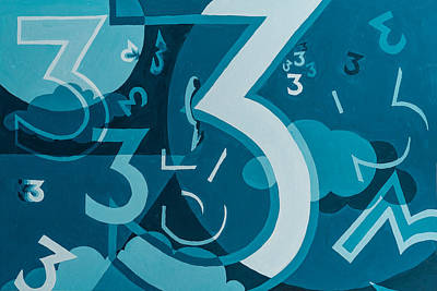 3 In Blue Art Print