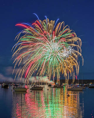 Independence Day Fireworks In Boothbay Harbor Art Print