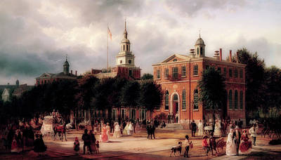 Independence Hall In Philadelphia Art Print by Ferdinand Richardt