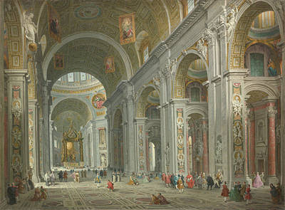 Painting - Interior Of Saint Peter's, Rome by Giovanni Paolo Panini