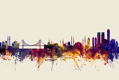 Constantinople Digital Art - Istanbul Turkey Skyline by Michael Tompsett