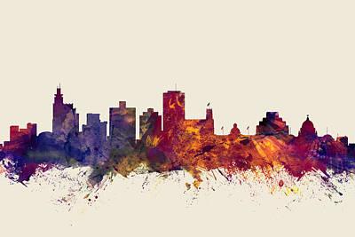 Mississippi Digital Art - Jackson Mississippi Skyline by Michael Tompsett