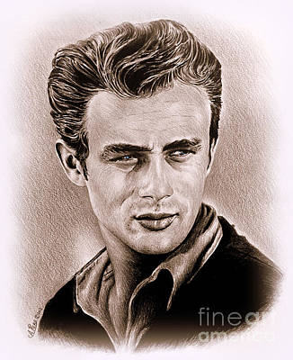 Old Blue Eyes Drawing - James Dean by Andrew Read