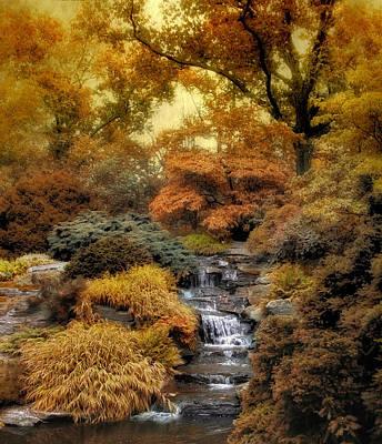 Autumn Landscape Digital Art - Japanese Rock Garden by Jessica Jenney