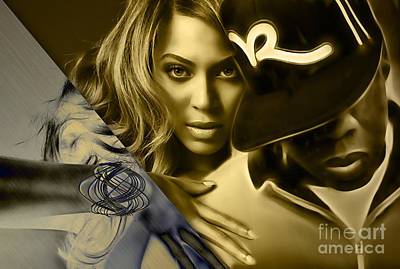 Beyonce Knowles Mixed Media - Jay Z Beyonce Collection by Marvin Blaine
