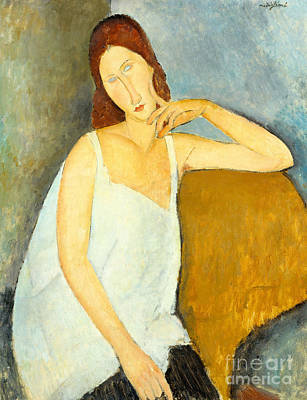 Clemente Painting - Jeanne Hebuterne by Amedeo Modigliani