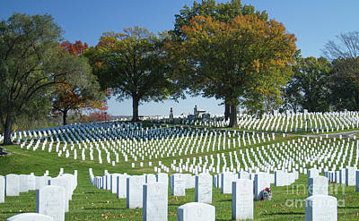 Fall Colors Photograph - Jefferson Barracks National Cemetery by Art of Frozen Time