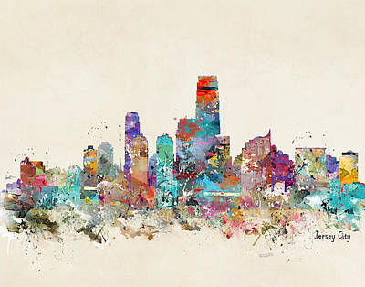 Colourfull Painting - Jersey City New Jersey by Bleu Bri