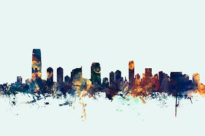 New Jersey Digital Art - Jersey City New Jersey Skyline by Michael Tompsett