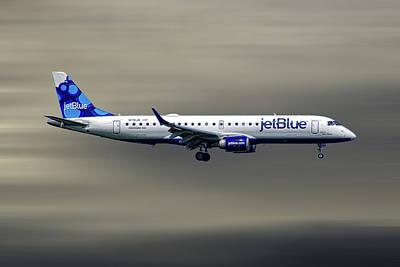 Mixed Media - Jetblue Airways Embraer Erj-190ar by Smart Aviation