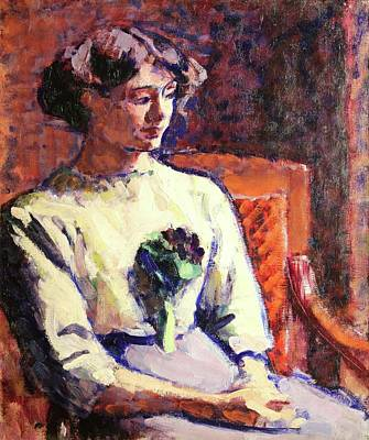 Conor Painting - Jeune Fille Au Bouquet De Violettes by MotionAge Designs