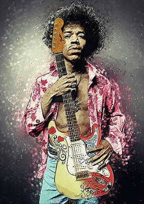 Musicians Digital Art Rights Managed Images - Jimi Hendrix Royalty-Free Image by Zapista OU