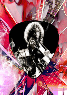Mixed Media - Jimmy Page Led Zeppelin Art by Marvin Blaine