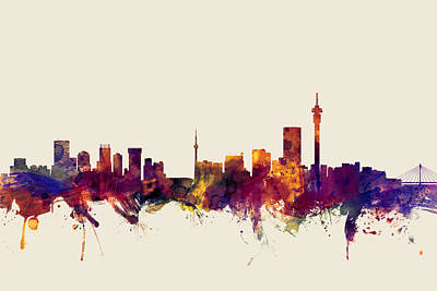Cityscape Digital Art - Johannesburg South Africa Skyline by Michael Tompsett