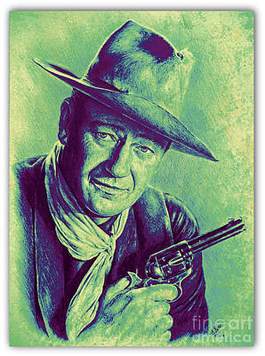 Land Of The Free Drawing - John Wayne by Andrew Read