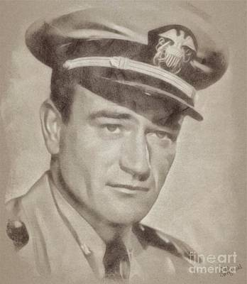 Musicians Drawings Rights Managed Images - John Wayne Hollywood Actor Royalty-Free Image by Esoterica Art Agency