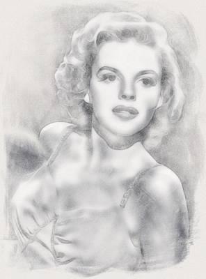 Celebrity Drawing - Judy Garland By John Springfield by John Springfield