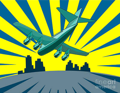 Airlines Digital Art - Jumbo Jet Plane Retro by Aloysius Patrimonio