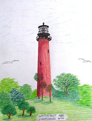Drawing - Jupiter Inlet Lighthouse  by Frederic Kohli