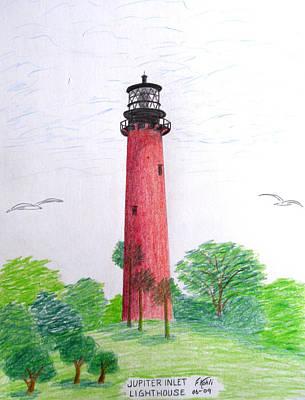Seacoast Drawing - Jupiter Inlet Lighthouse  by Frederic Kohli
