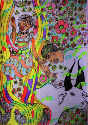 Painting - Kintu And Nambi A Folktale by Gloria Ssali
