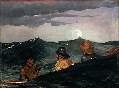 Winslow Homer Painting - Kissing The Moon by Winslow Homer
