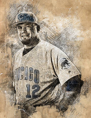 Chicago Cubs Drawing - Kyle Schwarber by Anna J Davis