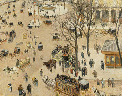 La Place Due Theatre Francais  Art Print by Camille Pissarro