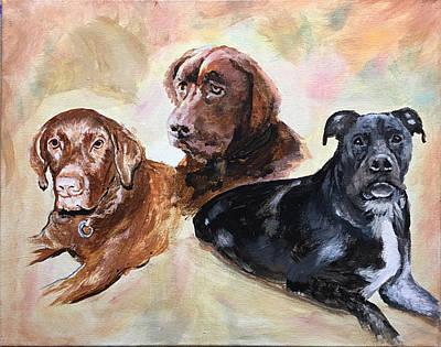 Painting - 3 Labrador Dogs Portrait by Robert Korhonen